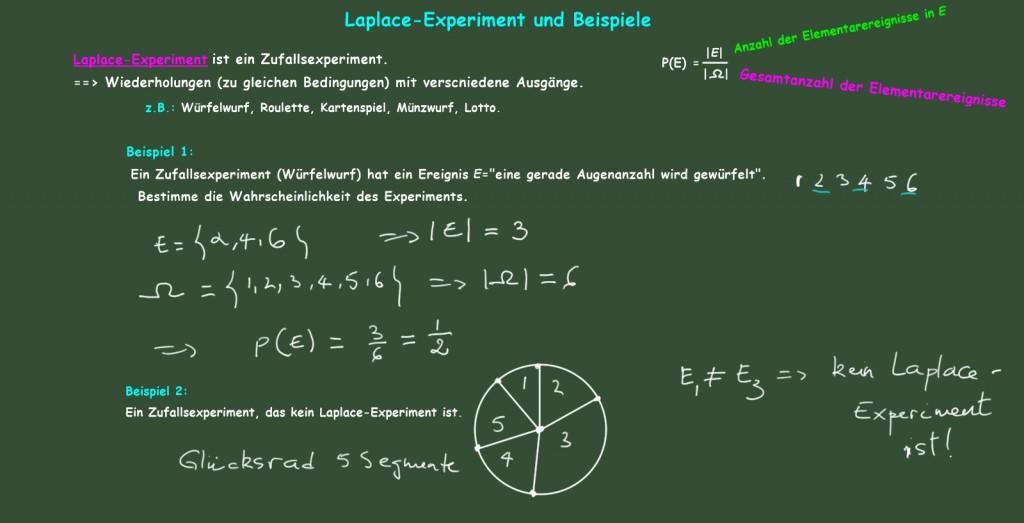 Wahrscheinlichkeiten in Laplace-Experimenten. Beispiel 1