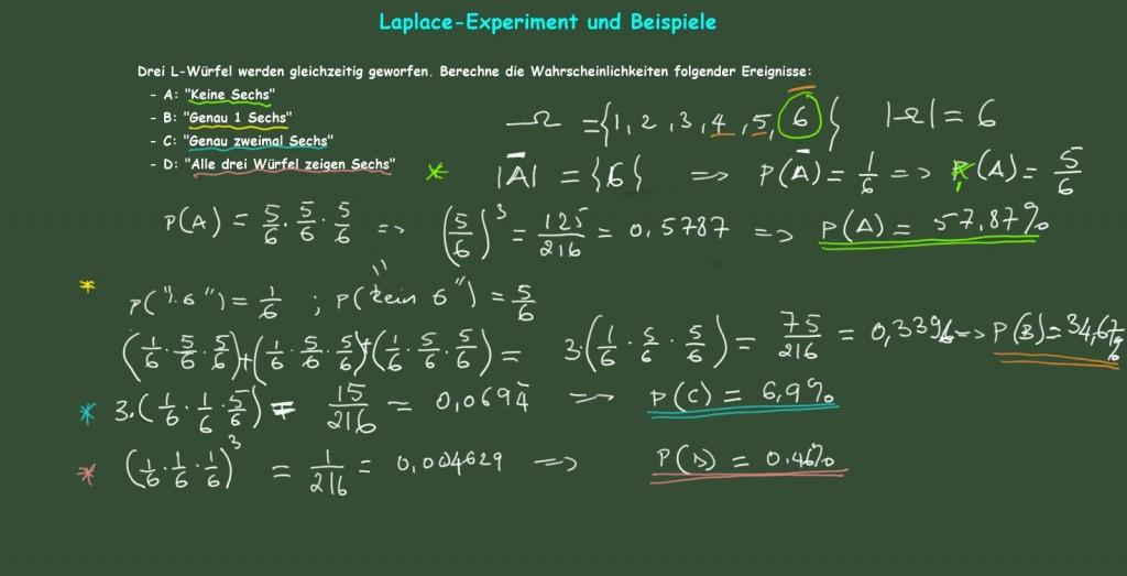 Wahrscheinlichkeiten in Laplace-Experimenten. Beispiel 4
